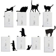 Switch Panel Stickers 1 PC Room Window Wall Decor Switch Vinyl Decal Sticker Decor Cartoon Mini Cat Switch Wallpaper D24(China)