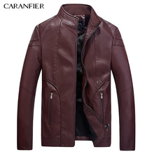 CARANFIER 2017 Fashion Winter Leather Jacket Men High Quality PU Casual Biker Jacket Pilot Leather Jacke pilot leather jacket(China)