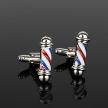 dongsheng Tie Clips&Cufflink Series Barber Shop Barber Pole Cufflinks Men Shirt Cuff Buttons Jewelry CuffLinks New Accessories(China)