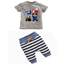 BB230 Retail 2017 Summer boys set loose-fitting baby clothes car short sleeve Top + stripe pants 2pcs set baby clothing sets