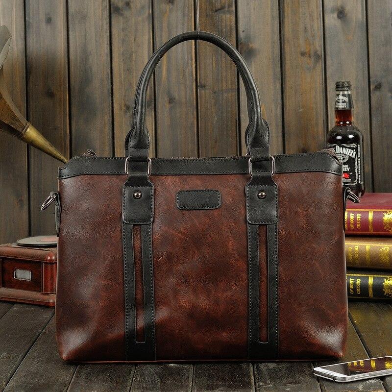 New Fashion Retro men bag crazy horse leather mens handbags casual business shoulder bag briefcase messenger bags office bag<br>