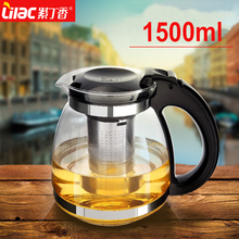 Hot sale Drinkware ! Genuine 1500ml Glass TeaPot Home & Office Tea Pot Kettle Heat-Resistant Stainless steel Strainer