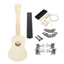 21 Inch Unassembled Wooden Ukulele Guitar Uke Kit Musical Accessories Guitar DIY beginners Basic players