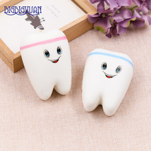 1pcs 10.5CM Upscale Jumbo Squishy Cute Adorable Teeth Soft Slow Rising Jumbo Squeeze Cell Phone Strap Pendant Toy Random Color(China)