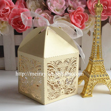 Hot Sale Laser Cut Wedding Favor Candy Box, Chocolate Packing, Chocolate Boxes for Valentine Gift Wedding Decors(China)