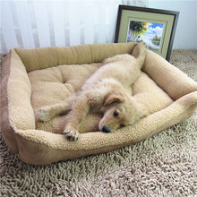 Soft Dog Beds For Large Dogs Berber Fleece Warm Kennel Plush Beds Mat Pet Products For Large Dog Washable Big Beds 21S2(China)