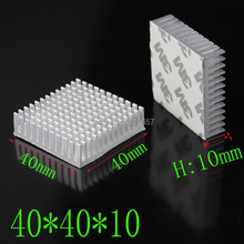 10Pieces lot 40 x 40 x 10mm 40mm Heat sink Aluminum Heatsink Cooling Cooler With Tape For Led Light(China)