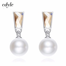 Cdyle Made With Swarovski Elements Simulated Pearl S925 Sterling Silver Jewelry Stud Earrings Women Austrian Rhinestone Fahsion(China)