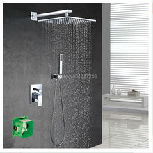 "Luxury Polished 10"" Square Style Rainfall Waterfall Embedded Box Shower Set Faucet Wall Mounted With Handshower Mixer Set"