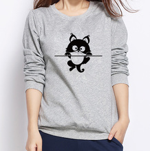 Autumn Winter Warm O-Neck Pullover Casual Hoodies Cute Cartoon Cat Printed Sweatshirts 2017 Trendy  Mujer Jumper Tops