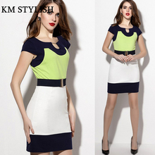 [Panic Buying] Free shipping, women's patchwork dress with belt, knitted dress with U shape collar
