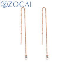 ZOCAI earrings Stamped Au750 Genuine 0.08 CT Diamond Drop Earrings 18K White/Rose/Yellow Available E80104T(China)