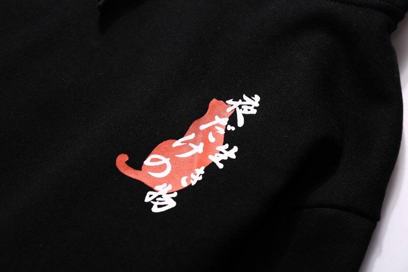 Japanese Ukiyo Cat Printed Fleece Hoodies 12