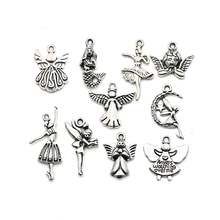 10pcs Mixed Tibetan Silver Plated Girl Angel Fairy Cupid Charms Pendants Jewelry Making Diy Charm Crafts Handmade