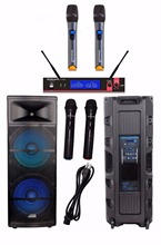 "STARAUDIO SDMN-15RGB Dual 15"" 5000W Pro PA DJ Stage Powered Active USB SD FM BT Speaker W/ LED Light Microphones(China)"
