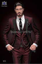New Brand Groom Tuxedo Suit 2017 Custom Made Wine Red Men Suits Terno Slim Fit Peaked Lapel Groomsmen Men Wedding Party Suits(China)