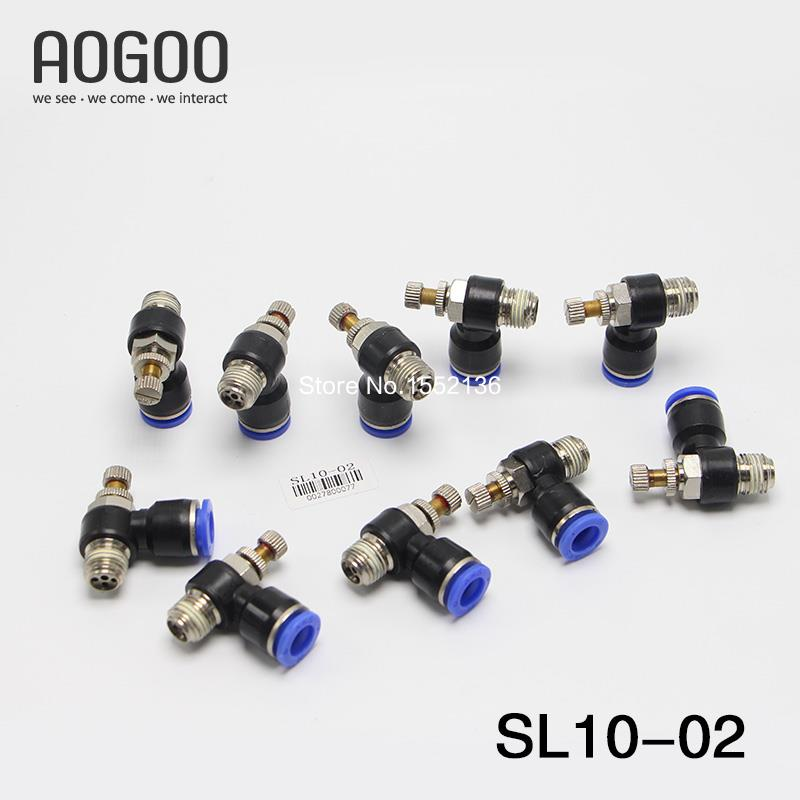 Tube 10mm Thread G1/4 Pneumatic throttle valve pneumatically Quick Connector exhaust valve SL10-02<br><br>Aliexpress