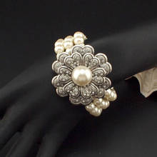 Danfosi Antique Silver Color Flower Rhinestones Elastic Imitation Pearl Bracelets Bangles Women Vintage Statement Jewelry
