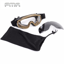 Outdoor Combat Airsoft Glasses FMA Tactical Ballistic Goggle Helmet Glasses with Side Rails Prevent Eyes from BB Smoke Particles(China)