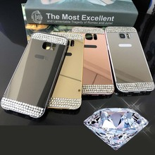 DIY Handmade Crystal Back Cover For Samsung Galaxy A3 A5 A7 2017 Bling Mirror PC Metal Case Capa A320 A520 A720 F/E Housing Bag(China)