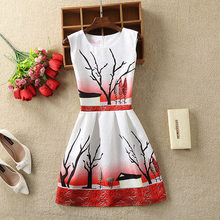 Women Summer Dress Vintage Printed Sexy Sleeveless Party Vestido De Festa Female Clothing A-Line Casual Dress Robe JYS001