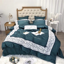 New red yellow blue egyptian cotton bedding sets lace duvet cover set Quilt cover bed sheet pillowcase 4/7pcs Queen King(China)