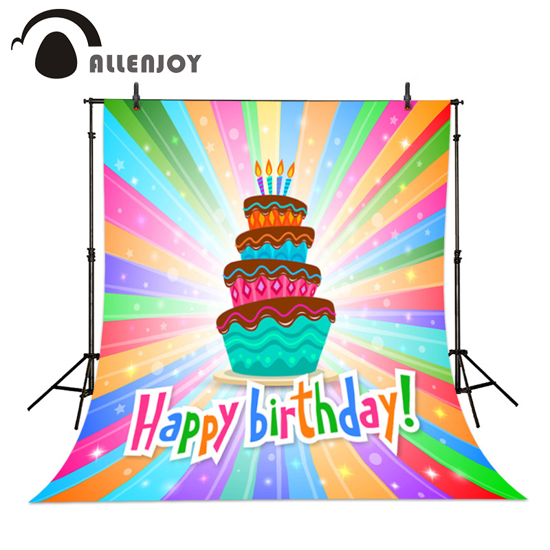 Allenjoy Childrens birthday party background Cake colorful happy beautiful baby backdrop Anniversary celebration photo<br><br>Aliexpress