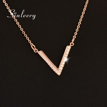SINLEERY Fashion Tiny Cubic Zirconia Crystal Simple V Letter Design Silver /Rose Gold Color Women Necklace Chain Jewelry Xl001(China)