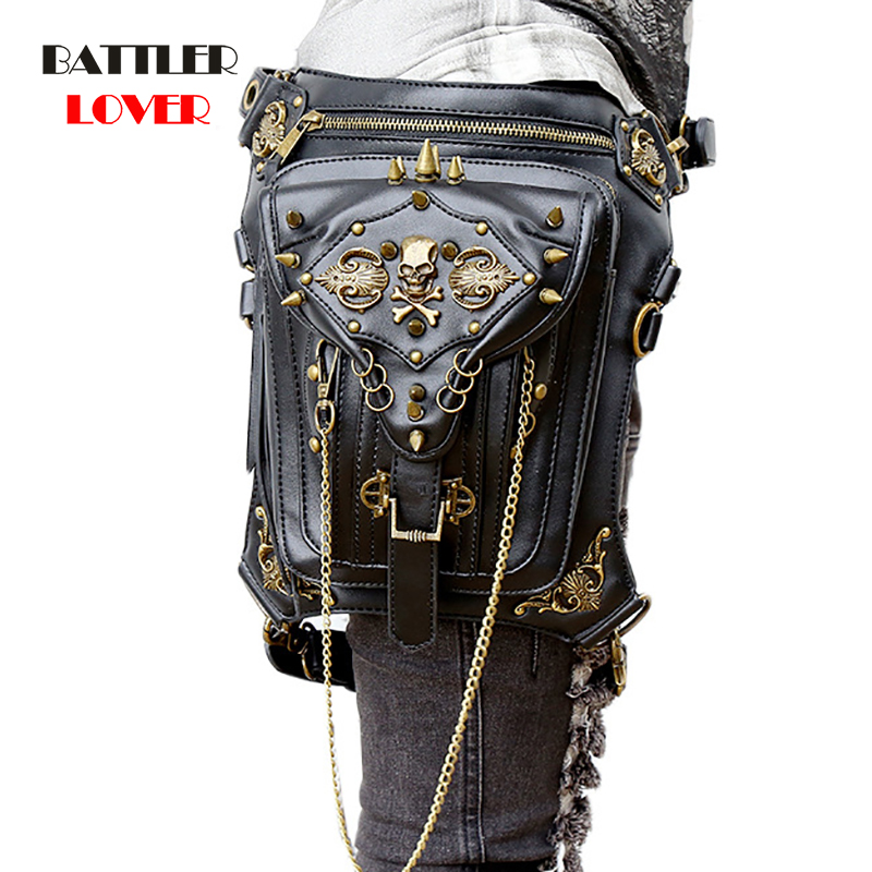 Unisex PU Leather Motorcycle Rider Hip Hop Men Belt Skulls Waist Bags Punk Rock Rivet Messenger Shoulder Cross Body Bag Women