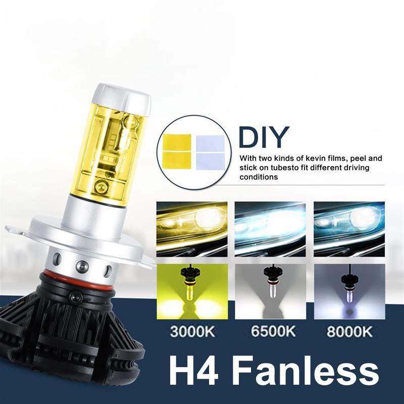 2pcs H4 Hi-lo Beam 50W Car LED Headlight Bulb CREE CSP Chips 6000lm Auto Led Headlamp Fog Light 12v 24v 3000K/6500K/8000K<br>