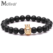 Mcllroy New style Buddha Bangle brand men's bracelet natural stone beads bracelet gold lion head Crown King Charms Bangle