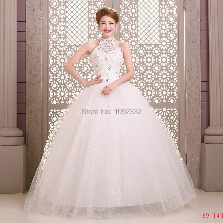 s Stock 2016 New Plus size bridal gown  women  lace wedding dress tube top bridal Ball gown slim lace up halter-neck A56