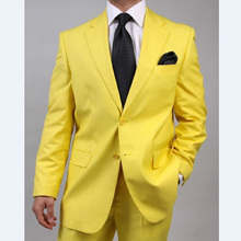 Yellow Wedding Men Suits 2017 Notched Lapel Two Piece Custom Made Groom Tuxedos (Jacket + Pants)(China)