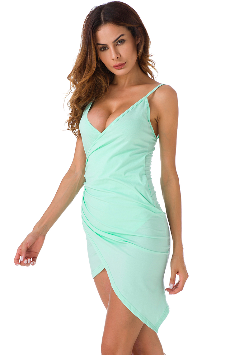 Forefair Sexy Ruched Cross V- Neck Strap Dress 2017 Summer Light Green Cotton Dress Women Backless Bodycon Party Dresses 3