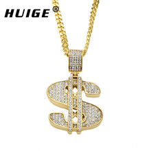 Hip Hop Stainless Steel US Dollar Money Pendant Necklace Luxury Gold Color Chain Jewelry Women Accessories Necklace Collier(China)