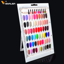 #61508s Venalisa Gel Polish Color Plate Full Set Display Salon Color Book Nail Gel Color Chart 60 Colors Selection Color Card(China)