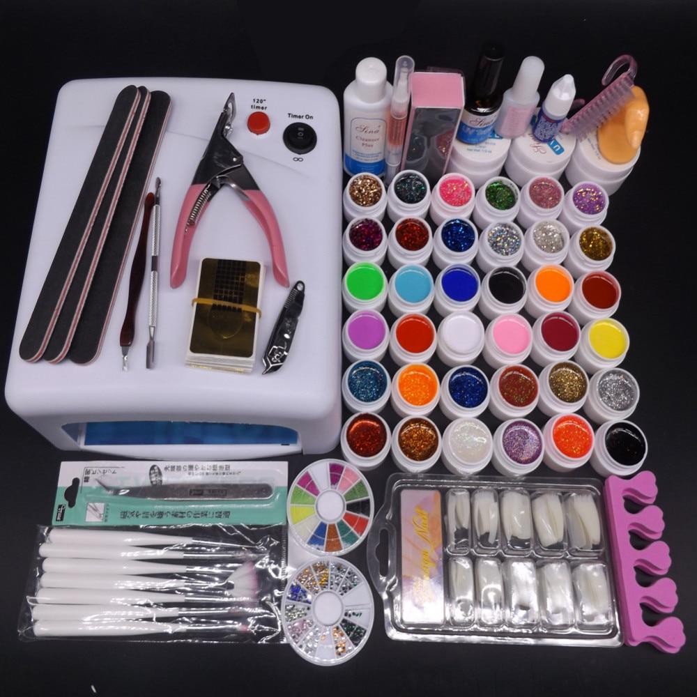 High quality 36w UV Lamp Nail Gel Kit 36 Color UV Gel Solid Glitter UV Gel Sets Topcoat Brush Full Nail Art Tools Kit #N307<br>