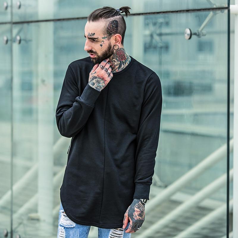Cross Printed Hip Hop Sweatshirt Men 17Spring Streetwear Curved Hem Side Zipper Plain Mens Sweatshirts and Hoodies Man Clothes 1