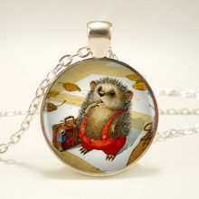 1pcs/lot Hedgehog Silver Pendant Necklace Long Chian Statement Handmade Necklace For Women