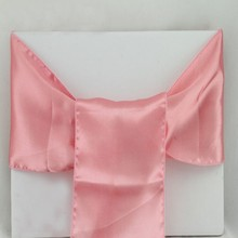 "25 Pieces Peach 6""x108"" Satin Chair Sashs 15x275cm Sating Chair Covers Bows Wedding Party Favors Decorations(China)"