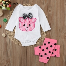 For Newborn Infant Baby Piggy Bowknot Romper+Leg Warmer Outfits children clothing Set cartoon Embroidery costume suit for girls(China)