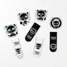 W57 2pcs/pack Kawaii Oreo Cats Magnet Bookmark Paper Clip School Office Supply Escolar Kids Gift Stationery