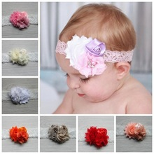 2017 children Hair Accessories Flower with pearl Lace Hairband Soft Elastic Headband Headwear newborn headbands(China)