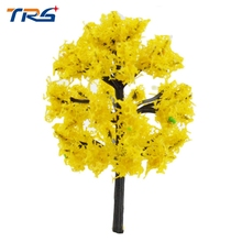 4cm-8cm Yellow color Plastic Model Trees Train Railroad Scenery HO N Z Scale Model Building Kits(China)