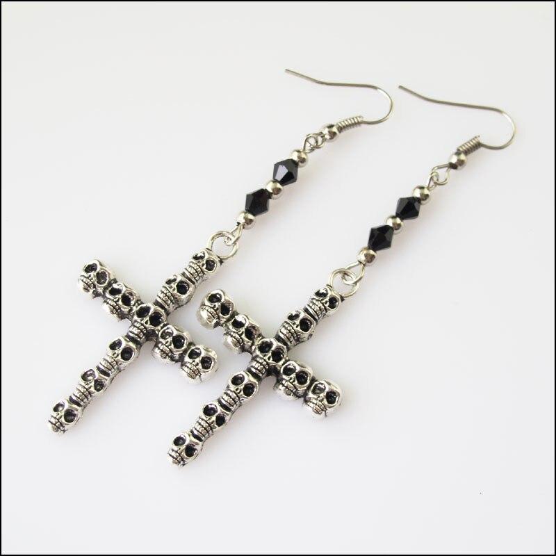1Pair Winsome Retro Skull Black Crystal Dangle Hook Earrings Women Jewelry