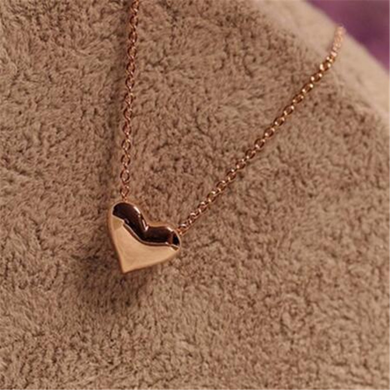 Hot Sale Sweet Office Lady Style Gold Color Peach Heart Collarbone Necklace Wedding Accessories Bridesmaid Short Chain Necklace(China (Mainland))