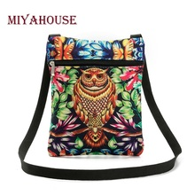 Miyahouse Hot Sale Women Mini Flap Shoulder Bag Colorful 3D Owl Printed Canvas Messenger Bag Female Daily User Small Bag Lady