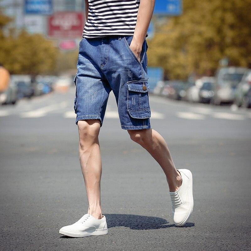 2017 Summer Mens Jeans Shorts Blue Straight Male Denim Shorts Pockets Cargo Designs Bermuda Short Pant Casual men shorts hommeОдежда и ак�е��уары<br><br><br>Aliexpress