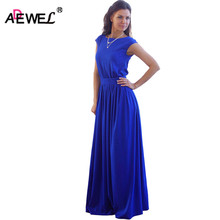 ADEWEL High Waist Pleated Floor Length Royal Blue Elegant Evening Party Wear Casual Maxi Women Summer Long Dress(China)