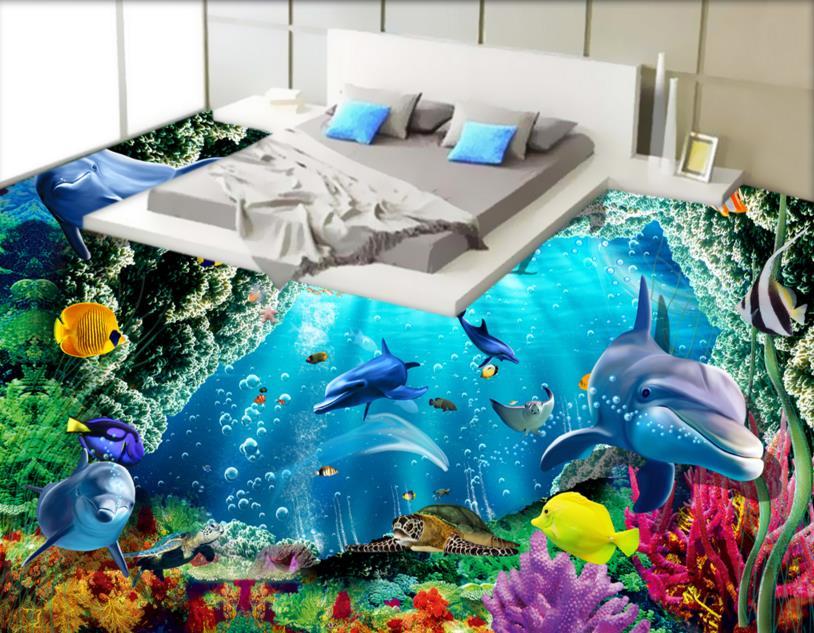Dolphin Marine bathroom Floor Custom 3d PVC wallpaper 3d Painting Floor Self-adhesive Non-slip Wear 3d Photo  PVC Wallpaper<br>